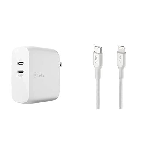 【ライトニングケーブルセット】Belkin 充電器 USB-C 2ポート 68W(18W + 50-60W) PD 急速充電 GaN 窒化ガリウム 折りたたみ式プラグ BOOST↑CHARGE WCH003dqWH-A + Playa by Belkin USB-C to ライトニングケーブル 1m ホワイト PMWH1003yz1M-A