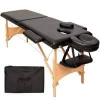 Lettino Massaggi Massaggio Legno Portatile Pieghevole Regolabile Tatuaggi Estetista Massaggiatore Fisioterapia Tattoo (Nero)