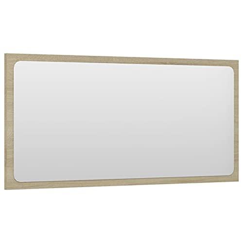 Tidyard Lustro łazienkowe, lustro ścienne, lustro łazienkowe, lustro wiszące, meble łazienkowe, meble łazienkowe z płyty wiórowej i szkła, 80 x 1,5 x 37 cm, dąb Sonoma