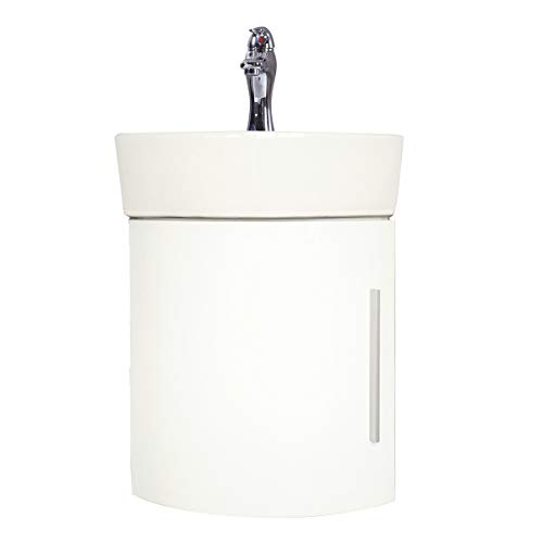 Myrtle 16 1/2' Small Corner Cabinet Vanity Wall Mounted Bathroom Sink White With Faucet Drain And Overflow Space Saving Design Renovators Supply Manufacturing