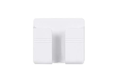 Hiro 壁掛けホルダー スマホ/リモコン/小物などを収納 簡単取り付け ウォールラック スマホスタンド 置き場 携帯充電ケーブル口付き 2個セット