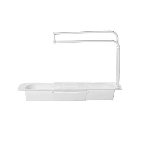 Telescopic Sink Holder With Drain Box and Towel Bar, Sink Tidy Organiser Storage Drain Basket for Home Kitchen