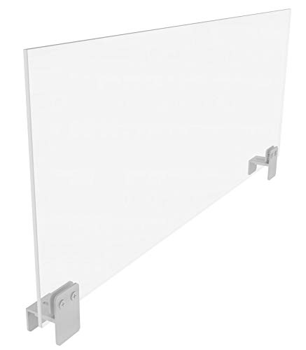 Sneeze Guard or Panel Extender for Partition Walls or Cubicles 12 x 30 | Clear Acrylic w/Clamp on Brackets