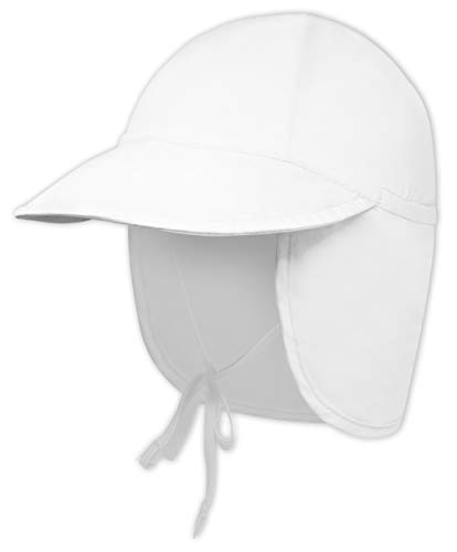 Kids Sun Hat for Boys & Girls - Toddler Beach Bucket Hats with UV Protection - UPF 50 Infant/Baby Flap Swim Cap - Great for Summer Fishing, Safari & Outdoor Play (White, 0-6 Months)