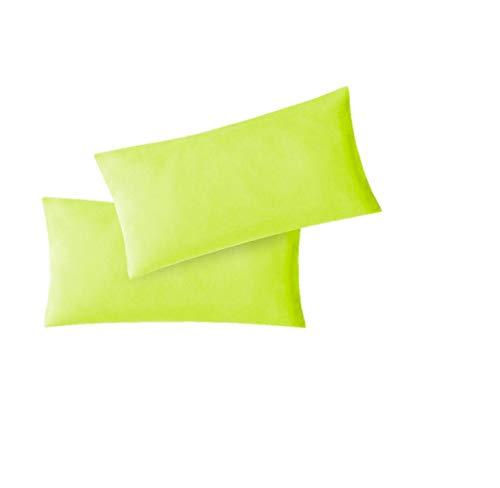 EXKLUSIV HEIMTEXTIL Jersey Kissenbezug Hülle 2 Sparpack Set mit Reißverschluss hochwertige Qualität 40 x 60 cm apfelgrün