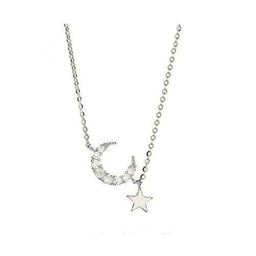 CCBZK Pulsera de Plata de Ley 925 con Encanto de Estrella y Luna de Cristal para Mujer, Pulsera y Brazalete, joyería de Moda, Fiesta