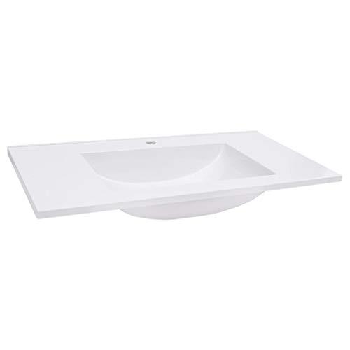 vidaXL Einbauwaschbecken Waschbecken Aufsatzwaschbecken Waschtisch Waschplatz Handwaschbecken Waschschale Badezimmer 800x460x130mm SMC Weiß