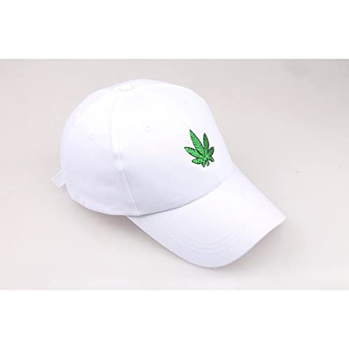 XMYNB Baseball Cap Embroidery Maple Leaf White Cap Cotton Snapback Hats For Men Women Hip Hop Fitted Baseball Caps-B