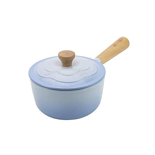 CJSWT Olla esmaltada Cacerola Cacerola Sopa Salsa de Frijoles Leche Alimentos Fideos Olla para cocinar, Cacerola Antiadherente con Revestimiento de Esmalte de Hierro Fundido Retro, Olla pequeña,A