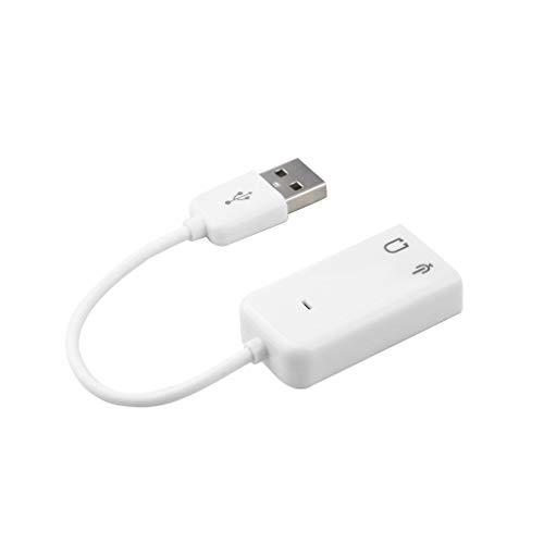Kitechildhood PC Desktop USB 2.0 3D Virtual Channel Audio Sound Card Adapter for Windows 7 White Adaptador de Cable