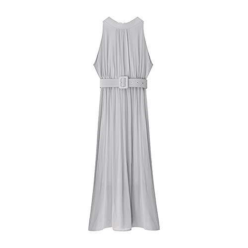 Vestido de Gasa para Mujer Verano Nueva Mujer Delgada Adelgazante Largo sin Mangas Falda Larga Falda de Playa