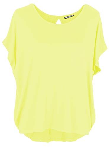 Emma & Giovanni Damen Basic Sommer T-Shirt/Oberteile Kurzarm, Gelb, Gr.- DE 44-46 (Herstelleretikett XL)