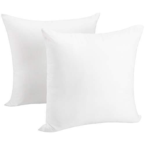 Juego de 2 fundas de almohada de 50 x 50 cm, inserciones para fundas de almohada, relleno de cojín, almohada para cama y sofá, almohadas decorativas para interiores, relleno de...