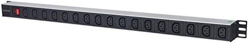 Intellinet stekkerdoos met randaarde 17-voudig verticaal C13/C14 netschakelaar zwart/zilver