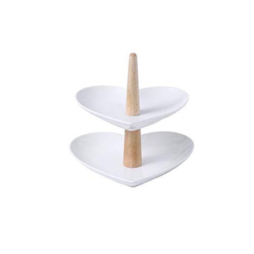 Bandeja de pastel poligonal en forma de corazón de estilo japonés de la bandeja de frutas de tres capas de la tarde de la tarde de la tarde de la tarde del stand Tiempo dulce para la fiesta de té de l