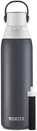 Brita Stainless Steel Water Bottle with Filter, 20 Ounce Premium Double Insulated Water Bottle, BPA Free, Carbon and assorted colors