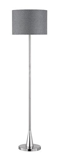 Trio Leuchten LED Stehleuchte Cosinus 406500107, Metall Nickel matt, Stoffschirm grau, exkl. 1x E27