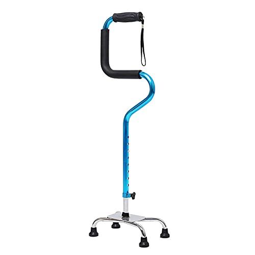 collapsibles Quad Cane,Adjustable Walking Stick with 4-Pronged Base for Elderly and Handicap,Works for Men Women and Elderly Arthritis Elderly Seniors & Handicap (Color : Blue)