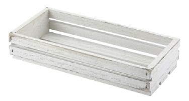 Genware TR215W houten krat, 25 cm x 12 cm x 5 cm, wit afwasbaar