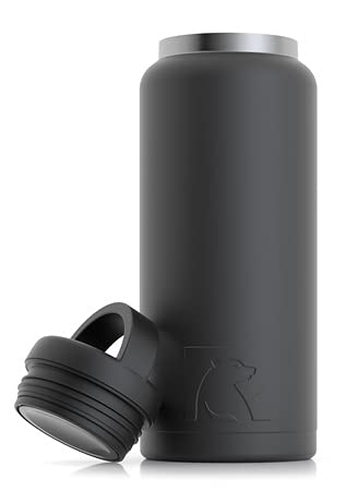 RTIC Water Bottle 36 oz, Black, Vacuum-Insulated, Stainless Steel
