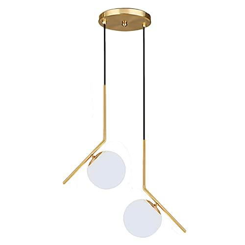 HJXDtech Lámpara colgante de bola de cristal blanca moderna, Luz colgante de...