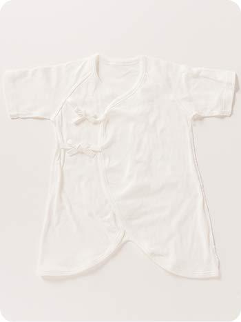 【ER2808WWS】2枚組 オーガニックコットン コンビ肌着 新生児用 ベビー用 50cm 60cm 出産祝い ギフト (50cm〜60cm, 本体:白 ボタン:白+青)