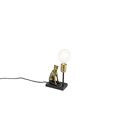 QAZQA rústico Lámpara de mesa vintage latón - LEOPARD Aluminio/Acero Otros Adecuado para LED Max. 1 x 25 Watt