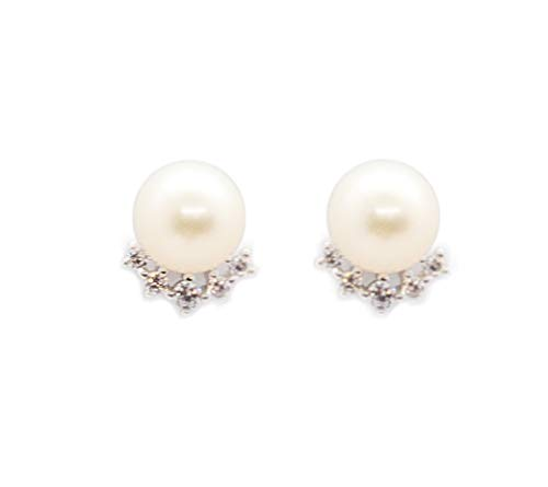 Orecchini a forma di corona con vere perle d'acqua dolce e 5 piccoli zirconi, argento Sterling 925, perla bianca, Ø 7 mm, forma a bottone
