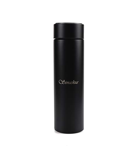 Simaskus 500 ml termo con LED, termo de vacío 304 de acero inoxidable, pantalla táctil LED, botella de sellado ideal para calor y frío (negro, acero inoxidable)