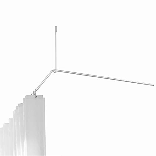 PHOS Edelstahl Design, DSE1700-750, 170 x 75 cm, L-Form Duschvorhangstange, inkl. Deckenhalterung,Edelstahl matt geschliffen, Deckenträger einkürzbar, Badewanne-Duschstange, Winkel-Vorhangstange