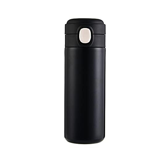 YIXINYOUPIN Botella de agua de metal, termos, reutilizable, botella de agua deportiva para ejercicio, correr, niños, senderismo, collar blanco trabajadores, 420 ml negro