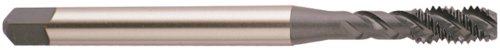 YG-1 BW Series Vanadium Alloy HSS Spiral Flute Tap, Uncoated (Bright) Finish, Round Shank with Square End, Modified Bottoming Chamfer, M4-0.7 Thread Size, D4 Tolerance