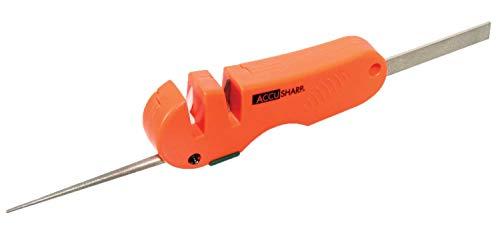 AccuSharp 4-in-1 Knife and Tool Sharpener (028C), Blaze Orange, Diamond Rod, Diamond Paddle, Two Stage Carbide/Ceramic Sharpener, Garden Tool Sharpener, Hunting Knife Sharpener, Multi-Use, Outdoor, Fi