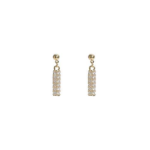 WGGTX Arete Pendientes, Pendientes, Diamantes Completos, Diseño Cilíndrico, Agujas De Plata, Moda De Mujer, High Sense (un par)