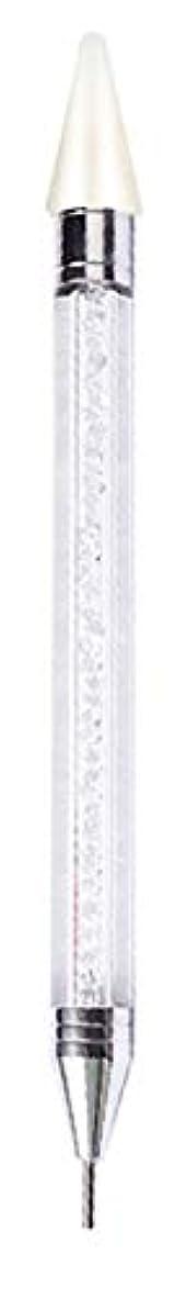 宙返りパネルサミュエルピックアップペン ラインストーン ドットペン ネイルアートパーツマジックペン デコ電 ネイルデコ用 ネイルサロン【ダブルヘッド】【全4色】 (クリア)