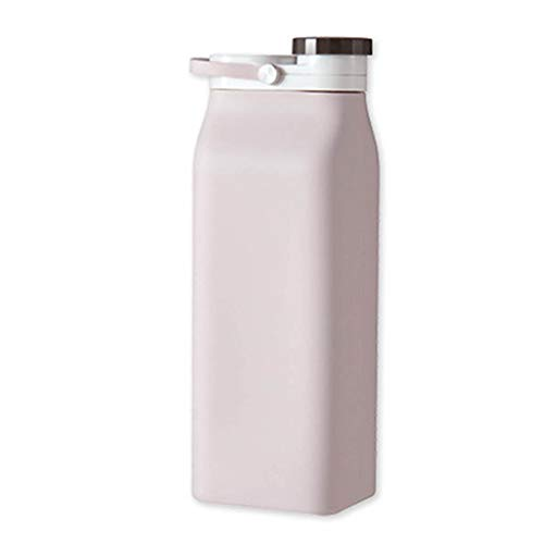 BLEUNUIT Botella Deportiva, Botella de Agua Plegable Ligera y Plegable de 600 ml de Gran Capacidad para Viajes, Rosa