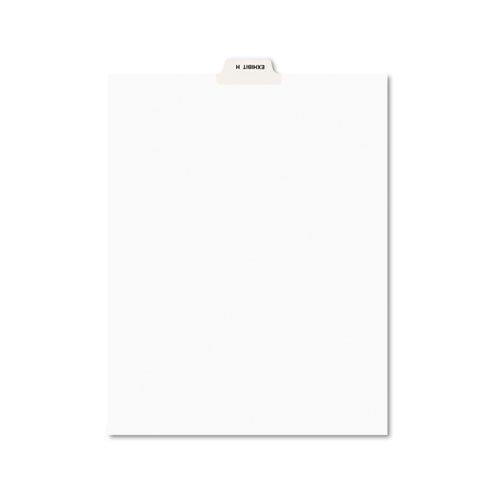 Avery-Style Preprinted Legal Bottom Tab Divider, Exhibit H, Letter, White, 25/PK