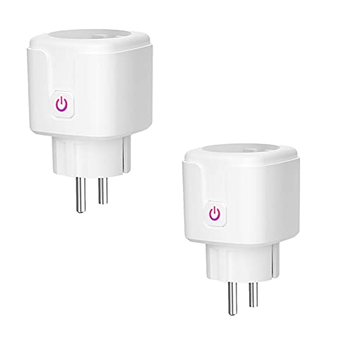 SOLE HOME 2 Conectores Wifi Inteligentes Mini Enchufe 16A Inteligente Funciona con Alexa Google Home Control Remoto Temporizador Inteligente Monitorización de Potencia para