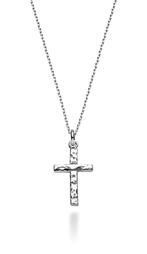 Miabella 925 Sterling Silver Italian Solid Hammered Cross Pendant Necklace, 18 Inch Chain Made in Italy (sterling-silver)