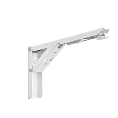 JOYKK 2-teilige dreieckige Klapphalterung Verstellbares Tischregal zur Wandmontage Hochleistungs-Sitzmöbel Hardware-Zubehör - Weiß # 10