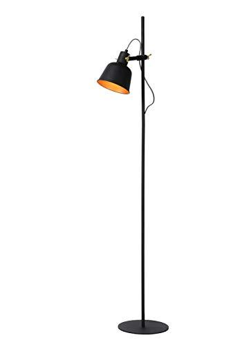 Lucide 45780/01/30 - Lámpara de pie, acero, 40 W, Negro, Oro Mate
