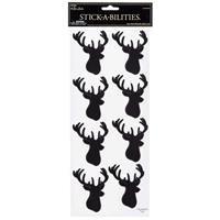 Black Deer Head Silhouette Stickers