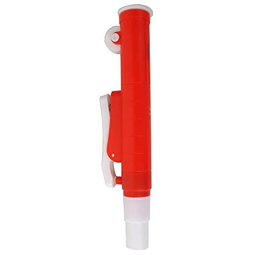 KENZIUM - Pack 1 x Aspirador Manual para Pipetas | para Pipetas de Vidrio o Plástico hasta 25 ml | Rojo | de ABS | Con Ruedecilla y Pistón