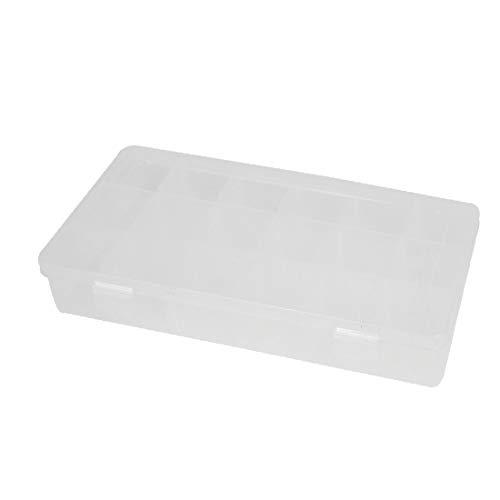 X-DREE Caja de almacenamiento de componentes electrónicos blanco transparente de 18 ranuras Soporte de caja 230mmx112mmx42mm (En plastique 18 compartiments-Composants électroniques boîtes de rangement