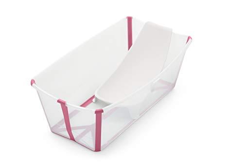 STOKKE® Flexi Bath®│Vasca pieghevole per bambini con supporto ergonomico per neonato│Vaschetta portatile per bambini a partire dai 4 anni│Colore: Transparent Pink