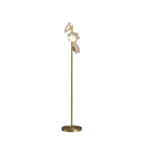 Lámparas de Pie 61' posmoderna Todos cobre Lámpara de vidrio acrílico tipo enchufable Con el interruptor de botón creativo vertical estándar de la lámpara for la sala Lámpara de Piso