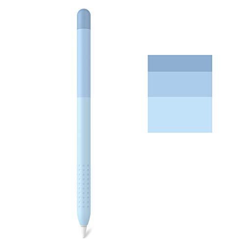 Delidigi Farbverlauf Hülle Silikon Hülle Schutzhülle Handgriff Zubehör Kompatibel mit Apple Pencil 1.Generation (Blau)