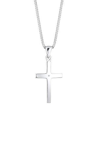 DIAMORE Halskette Damen mit Anhänger Kreuz und Diamant (0.01 ct.) in 925 Sterling Silber