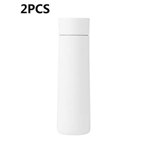ZUKN Intelligent Wasserflasche Edelstahl-Isolierflasche Mit Wassererinnerung Temperaturmessung Reisebecher LED-Anzeige Paar Becher 2 Stück,A