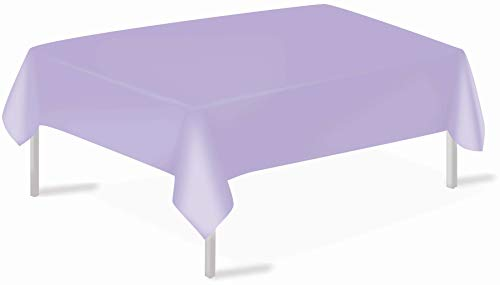 Lavender Plastic Tablecloths 3 Pack Disposable Table Covers 54 x 108 Inch Shower Party Tablecovers PEVA Vinyl Table Cloths for Rectangle Tables up to 8 ft and Picnic BBQ Birthday Wedding Banquet